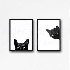 Black Cat Print Set Watercolor Prints Cat Art Illustration Cat Lover... ($12) ❤ liked on Polyvore featuring home, home decor, wall art, black cat illustration, black and white home decor, cat illustration, black cat home decor and unframed wall art