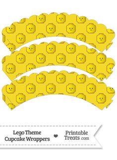 Yellow Lego Theme Scalloped Cupcake Wrappers-- https://www.pinterest.com/printabletreats/lego-theme-printables/