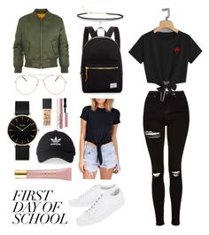 """""""First Day of School"""" by kb620 ❤ liked on Polyvore featuring Common Projects, Herschel Supply Co., adidas, Delacy, Topshop, WearAll, CLUSE, BillyTheTree, AERIN and NARS Cosmetics"""