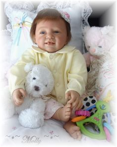 Reborn Baby girl Molly...Benno kit by Linde Sherer...5lbs & 4oz's...18 inches..rooted hair..Created by me..2008...