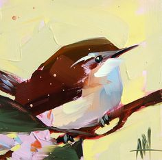 Carolina Wren no. 23 original bird oil painting by Angela Moulton 6 x 6 inch on panel can ship March 24