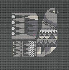 Sanna Annukka Cross Stitch Pattern PDF Bird Pillow Cover by WallflowerCushions, $5.00