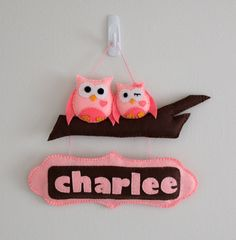 Felt Personalized Door Name Sign - Mama Owl and baby owl Door Sign - Custom made - Valentine's Day Gift