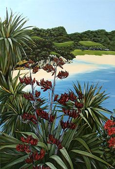 Kirsty Nixon New Zealand contemporary landscape artist, detailed realist paintings, Rangitoto, NZ beach scenes, coastal Watercolor Landscape, Abstract Landscape, Landscape Paintings, Flower Paintings, Art Paintings, Fantasy Landscape, Winter Landscape, Zealand Tattoo, New Zealand Art