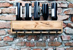 Wine rack, Wall mounted wine holder, Minimalist, Rustic & functional design, Up-cycle. Diy Gifts For Mothers, Boyfriend Crafts, Wine Rack Wall, Flat Shapes, Easter Bunny Decorations, Mother's Day Diy, Craft Stick Crafts, Types Of Wood, Wall Mount