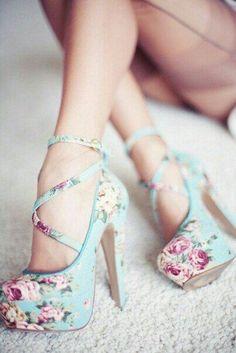 Floral High Heels, Classy High Heels, Super High Heels, Floral Pumps, Floral Wedges, Colorful Heels, High Heels For Kids, Floral Sandals, Pretty Heels