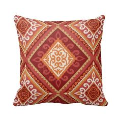 Outdoor Zippered Spanish Tile Coral Throw Pillow Cover by Primal Vogue™ - Various Sizes 16x16 18x18 20x20 -  Red, Orange, White and Coral