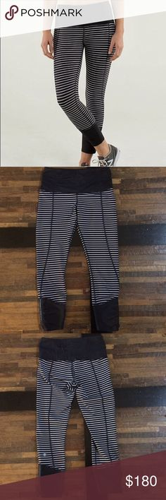 "Lululemon Runday Crop Parallel Stripe 4 Worn Once Excellent condition. Only worn gently one time to pick up my daughter at school, hand washed cold and laid flat to dry. The rip tag was removed for comfort, however the size dot is in tact and confirms a size 4.  Full-On Luxtreme® fabric  Inseam approx: 23"" lululemon athletica Pants"