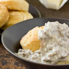 Southern Sausage Gravy Recipe- Just sausage, milk and a little flour and pepper.  Mmmm
