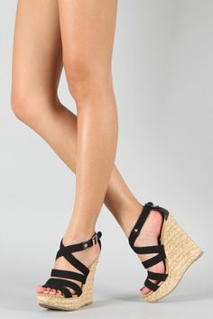 Madison-10 Canvas Strappy Open Toe Wedge $26