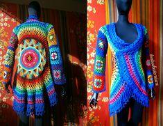 Crochet Coat - Aztec Sun Mandala And Granny Squares, via Flickr.