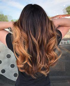 Caramel balayage on long dark brown hair. Sun kissed summer 2017 hair color