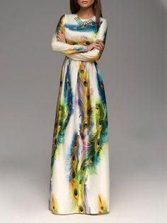 Printed Fascinating Round Neck Maxi Dress