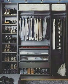 22 Must-See Closet Designs Having an organized closet makes getting ready in the morning so much easier. With the PAX/KOMPLEMENT wardrobe system you can choose frames in finishes to suit your style and customize the organization inside to suit your needs. Walk In Wardrobe, Bedroom Wardrobe, Walk In Closet, Black Closet, Capsule Wardrobe, Men's Wardrobe, Entry Closet, Bedroom Closets, Black Wardrobe