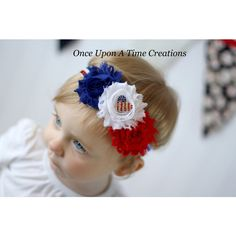 American Sweetheart Shabby Flower Glitter Headband Independence Day... ($5.99) ❤ liked on Polyvore featuring accessories, grey, hair accessories and headbands & turbans