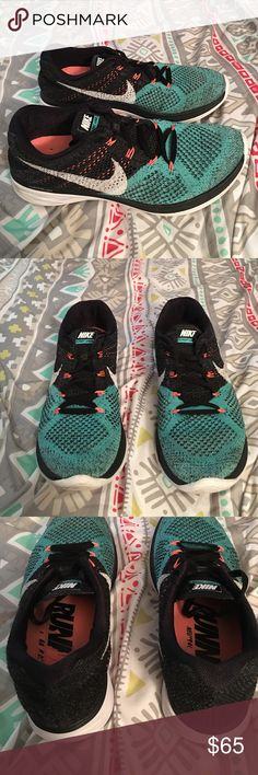 Teal and black Nike FLYKNIT LUNAR 3 Womens 9, good condition but has been worn a bit but still has a lot of life left. The white part and bottom does have light brown marks. And the inside is starting to fade. And the backs are sunken in just a bit. Nike Shoes Sneakers