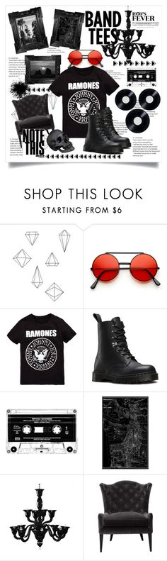 """""""band tees clasicc"""" by cubukkrakker ❤ liked on Polyvore featuring Umbra, Linda Horn, Dr. Martens, Voltolina and L'Objet"""