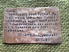 Wallet love note. Hand stamped copper. Wallet insert. Gift for him. Groom's gift. Father of the bride. Love note.Bible verse. Military gift. on Etsy, $33.00