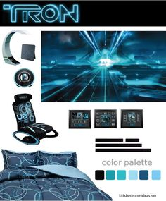Design I came up with for a Tron bedroom theme. Unfortunately, the bedding is no longer available and I haven't found much else that I liked as much with this. Click through to see all the other products and how I see them being used.