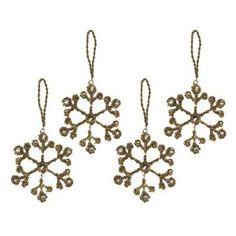 Lot de 4 flocons de neige en perles dorées et cristaux - Décoration à suspendre pour noël - Fait main en Inde