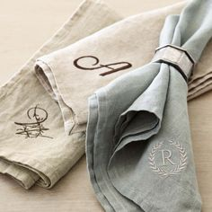 Williams-Sonoma Italian Washed Linen Napkins, Set of 4 , Monogrammed Napkins, Printed Napkins, Linen Napkins, Cloth Napkins, Napkins Set, Monogram Shop, Monogram Gifts, Personalized Gifts, French Country Dining