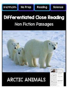 Close Reading Grade Non Fiction Passages: Arctic Animals Close Reading, Guided Reading, Fiction Vs Nonfiction, Canadian Social Studies, 2nd Grade Reading Worksheets, Social Studies Resources, Arctic Animals, Reading Passages, Comprehension Questions