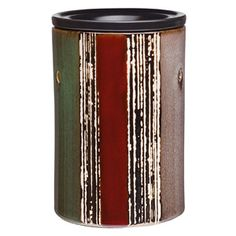 A multidimensional work of art, with alternating stripes of rusty red, taupe, and dark green highlighted by metallic brushstrokes.*This warmer is not guaranteed for holiday delivery on orders placed after Nov. 17.