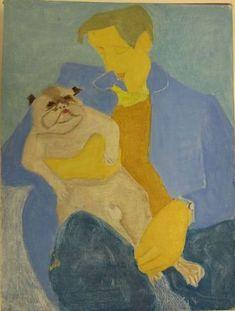 Pug Dog & Man by Sally Michel