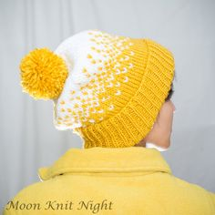 Handknit Beanie Fair Isle Hat Ombre Gradient by MoonKnitNight