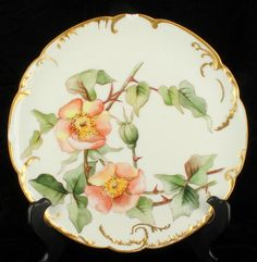 Each plate features a distinct, hand painted floral motif in varying colors. The same interlocking gold gilt scrollwork hugs the exterior rim of each plate. These plates are rare and quite elegant. | eBay!
