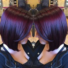 Amazing vibrant red violet created using redken chromatics and the new RV serious in redken shades eq cream! Hair by Rachel fife at Sara Fraraccio salon