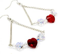 Crystal Heart Earrings. Dark Red Heart and AB Coated Heart Earrings. Three Crystal Hearts on Chain Jewelry. Two Clear Crystal Hears