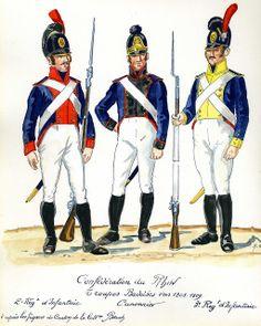 Baden 1808-09. L to R Infantryman 2nd Line Regt, Gunner of the Foot Artillery & Infantryman 3rd Line Regt.