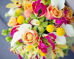 The bridal bouquet will be a clutch pink and yellow confetti roses, fuschia spray roses, yellow craspedia, pink stargazer lilies, and white cymbidium orchids wrapped in ivory ribbon. Yellow Bouquets, Floral Bouquets, Wedding Bouquets, Gloriosa Lily Wedding Bouquet, Hot Pink Flowers, Beautiful Flowers, Lilies Flowers, Floral Wedding, Wedding Flowers