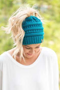 9eda7207e27 CC solid messy bun beanie teal from Lush Fashion Lounge Knit Beanie Hat