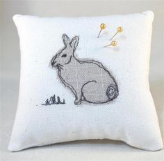 Pin Cushion in Linen with Machine Embroidery Rabbit Design  £8.00