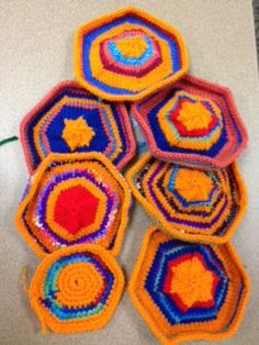 7 Hexagons, Artisphere Yarn Bomb Mosaic Palette #2 by moderknitty, via Flickr Yarn Bombing, Hexagons, Mosaic, Palette, Craft Ideas, Knitting, Projects, Crafts, Log Projects