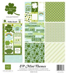 Echo Park St Patricks Day 12 x 12 Collection Kit Diy Arts And Crafts, Paper Crafts, Happy Patrick Day, Alphabet Stickers, Echo Park Paper, Paper Companies, Lucky Day, Pot Of Gold, Leprechaun