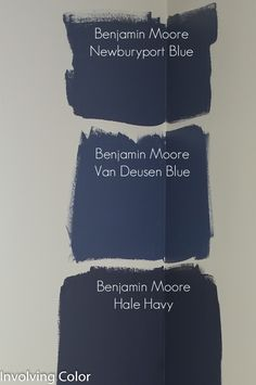 Benjamin Moore navy paint color ideas It was between Newburyport Blue and Van Deusen Blue. decided on Van Deusen Blue. I really wanted a good, dark navy wall, but I didn?t want the room to be too cave like, and the room will have a couple pieces of espr Navy Paint Colors, Interior Paint Colors, Navy Color, Nautical Paint Colors, Blue Grey Paint Color, Blue Wall Colors, Dining Room Paint Colors, Kitchen Colors, Bedroom Colors