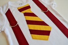 Harry Potter Baby Tie and Suspenders Bodysuit or T-Shirt for Boys - Gryffindor Baby - Harry Potter Inspired Birthday - Cake Smash Outfit