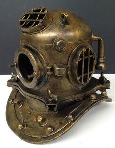 Metal Antique Style Diving Divers Helmet Ornament Decor Statue Table Desk | eBay
