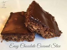 Easy Chocolate Coconut Slice - Just a Mum