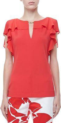 Escada Ruffle-Sleeve Silk Top, Poppy on shopstyle.com