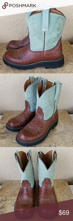 Ariat Fatbaby Boots Size 9 Ariat fatbaby boots brown ostrich embossed leather with light blue shaft. Size 9. Excellent condition. Ariat Shoes