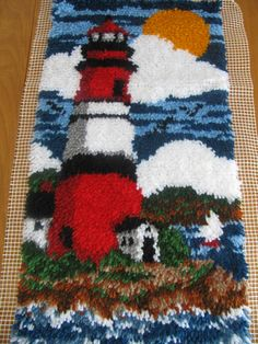 Lighthouse Wall Hanging – Large lighthouse Latch Hook – Lighthouse rug or mat – Beach House Decor – Latch Hook – Latch Hook İdeas. Latch Hook Rugs, Or Mat, Hand Hooked Rugs, Vintage Crafts, Penny Rugs, Beach House Decor, Loom Beading, Rug Hooking, Handmade Crafts
