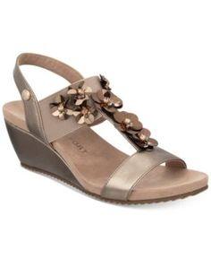 Anne Klein Cassie Wedge Sandals - Brown 5.5M