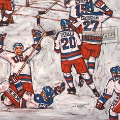 This large canvas captures one of the greatest upsets in sports history. At the peak of the Cold War, the American hockey team defeated the Soviets at the 1980 Lake Placid Olympics. Days later, they completed their 'miracle' with a Gold medal victory. Hockey Teams, Hockey Players, Lake Placid Olympics, Olympic Hockey, Hockey Cards, Sports Art, Large Canvas, Love Art, Artsy Fartsy