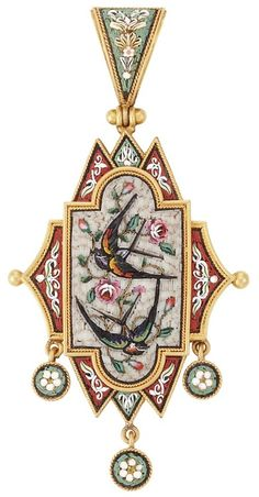 Antique Gold and Micromosaic Pendant. Centering a fancy-shaped panel topped by a pendant-loop, suspending three small circular panels, set throughout with floral multicolored micromosaic decoration and birds, circa 1870, reverse with glazed compartment, several tesserae missing, approximately 7.6 dwts. Via Doyle New York.