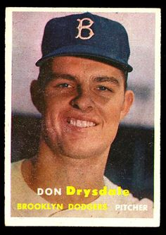 1957 Topps Don Drysdale Brooklyn Dodgers Baseball Card Values, Old Baseball Cards, Football Cards, Dodgers Baseball, Baseball Tickets, Baseball Players, Don Drysdale, Mlb, Dodger Blue