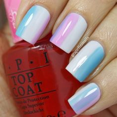 "Nail art with OPI's Sheer Tints in ""Be Magentale With Me"" and ""I Can Teal You Like Me"""